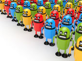 Crowd of colorful robots — Stock Photo