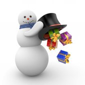 New Year Snowman — Stock Photo