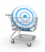 Shopping cart with arrow — Stock Photo