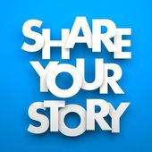 Share your story inscription — Stock Photo