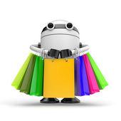 Robo shopping on white — Stock Photo