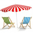 Two sun loungers and parasols — Stock Photo #70148427