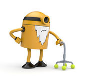 Old robot with crutch — Stock Photo