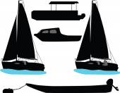 Boat and yacht — Stock Vector
