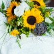 Wedding still life with bouquet and dress — Stock Photo #53754403