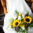 Wedding still life with bouquet and dress — Stock Photo #53754411