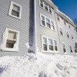 Blue three story house in winter — Stock Photo #53756037