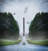 Woman walking toward a smokestack — Stockfoto