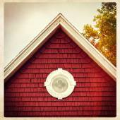Eaves of an old red building, instagram style — Stock Photo