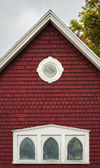 Eaves of an old red building — Stock Photo