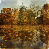 Autumn landscape from water — Stock Photo