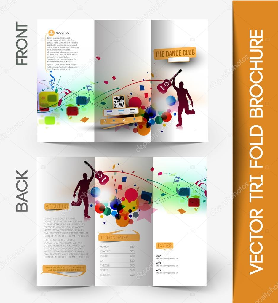 Music Club Party TriFold Brochure Vector redshinestudio – Music Brochure
