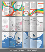 Bundle of Tri-fold Brochure Design — Stock Vector