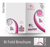 Beauty Care & Salon Bi-Fold Brochure — Stock Vector