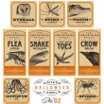 Funny vintage Halloween apothecary labels - set 02 (vector) — Vector de stock  #55893859