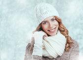 Beautiful happy woman in warm winter clothing — Foto Stock
