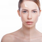 Before and after - skin — Stok fotoğraf