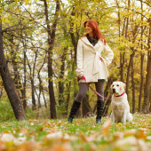 Girl playing and walking with her dog in autumn park — Stock Photo