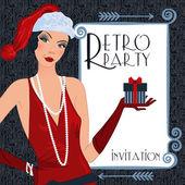Retro flappper christmas girl — Wektor stockowy