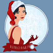 Retro flappper christmas girl — ストックベクタ