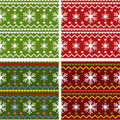 Christmas knitted pattern — Stock Vector