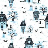 Christmas village pattern — Stock Vector