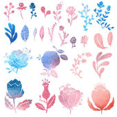 Watercolor nature clip art. — Cтоковый вектор