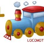Cartoon english alphabet, locomotive — Stock Photo #62332633