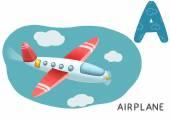 Cartoon english alphabet, airplane — Stock Photo