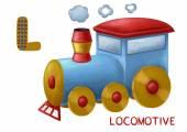 Cartoon english alphabet, locomotive — Stock Photo