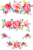 Watercolor flowers set — Stock Photo