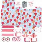 Gift box template  party set  — Stock Vector