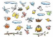 Set of birds, insects — Vector de stock