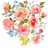 Watercolor roses card template — Stock Photo