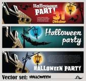 Vector banners to prepare for the holiday Halloween — Stock Vector