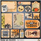 Vector tags, label and sticker on a theme of Halloween — Stock Vector