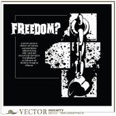 Vector bw-graphics - Broken the shackles. Freedom? — Stock Vector