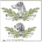 Hand drawn sketch - Dog heads in oak leaves and a stack and whip — Stock Vector