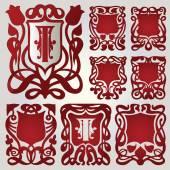 Vector set of shields for capital letters — Cтоковый вектор