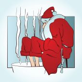 Vector clipart - Santa warms frozen feet in hot water — Stock Vector