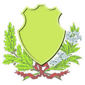Vector sketch - Coats of arms, shields and laurel wreaths — Stock Vector