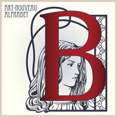 Vector Initial of English alphabet of art-nouveau (based on orig — Stock Vector