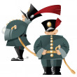 Vector funny soldiers in the old form. — Stock Vector #62605341