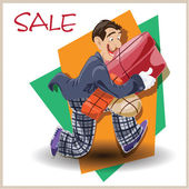 Vector illustration. Funny man running with the sale. — Stock Vector