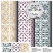 Vector pattern collection that includes 3 brushes — Stock Vector