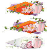 花と香水ベクトル ロマンチックなビネット. — ストックベクタ