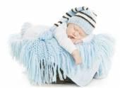 Baby Newborn Portrait, Boy Kid New Born Sleeping In Blue Hat, Child Isolated Over White Background — Stock Photo