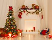 Christmas Room Interior Design, Xmas Tree Decorated By Lights Presents Gifts Toys, Fireplace and Candles Lighting Indoors — Stock Photo