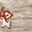Christmas Decoration Hanging Toy, Grunge Wooden Background, 2015 New Year of the Goat, Grain White Wood Wall, Xmas Decorative Texture — Stock Photo #58157331