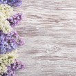 Lilac Flowers Bouquet on Wooden Plank Background, Spring Bunch over Wood Texture — Stock Photo #70189353